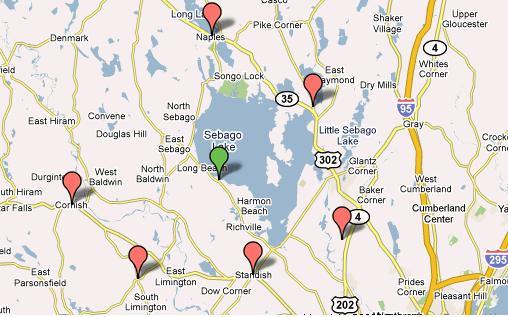 Sebago Lakes Region Business Directory Covering The Towns Of - Maine lakes map
